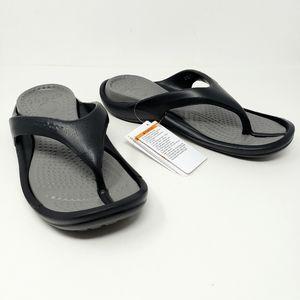 Crocs Athens Flip Flops Black & Smoke Gray New